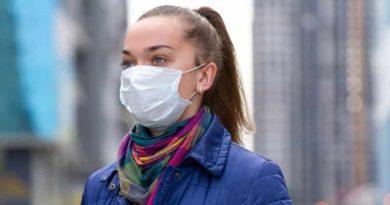 Девушка в маске на карантине из-за коронавируса